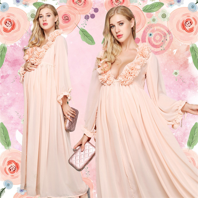 99622dddfc Maternity Photo Shoot Maxi Dress Nightdress For Pregnant Women Photography  Pregnancy Props Long Dresses Photo Shoot Dress H65