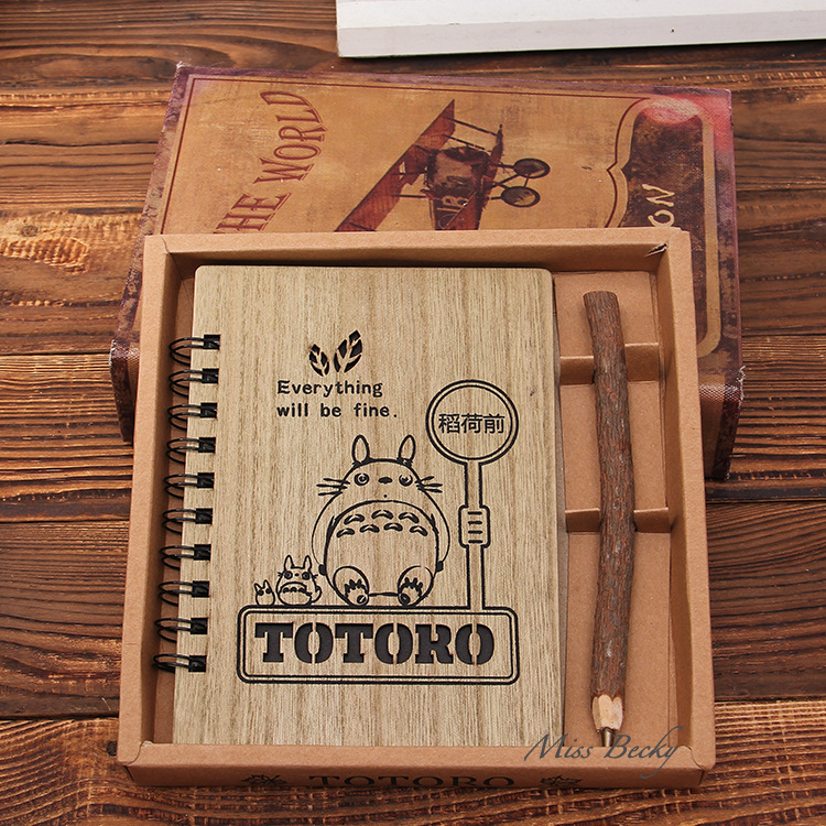 kawaii notebook totoro cute wood cover agenda creative stationery vintage korean diary gift. Black Bedroom Furniture Sets. Home Design Ideas