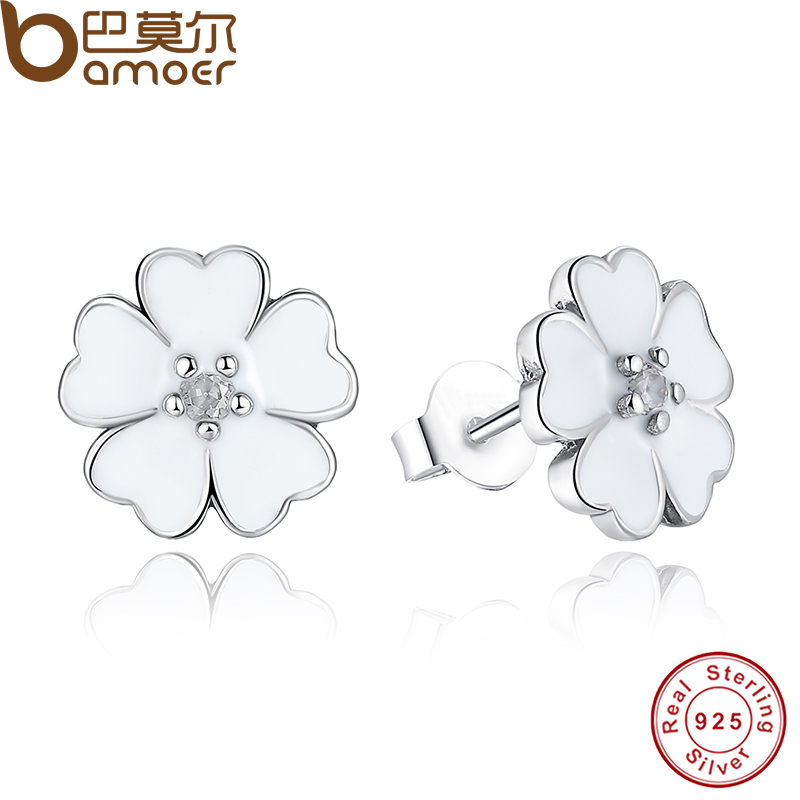 925 Sterling Silver Primrose Flower Stud Earrings White Enamel Compatible with Jewelry with Cubic Zirconia PAS402