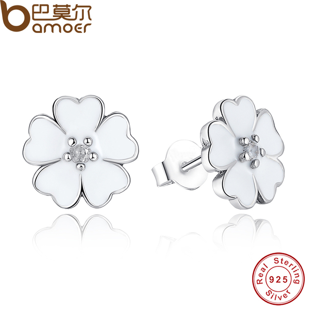 Sterling Silver Primrose Flower Stud Earrings