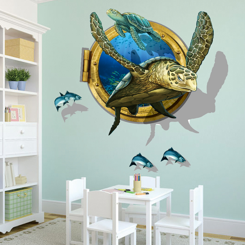 [SHIJUEHEZI] Sea Aquarium Turtle 3D Wall Stickers Vinyl Animal Wall Art for Kindergarten Kids Rooms Removable Home Decor Sticker-in Wall Stickers from Home ... & SHIJUEHEZI] Sea Aquarium Turtle 3D Wall Stickers Vinyl Animal Wall ...