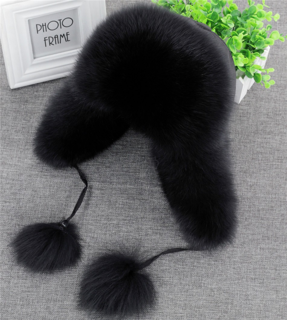 On Sale 100% Real Fox fur Women's Russian Ushanka Aviator trapper snow skiing Hat caps earflap winter raccoon fur Bomber hat 14