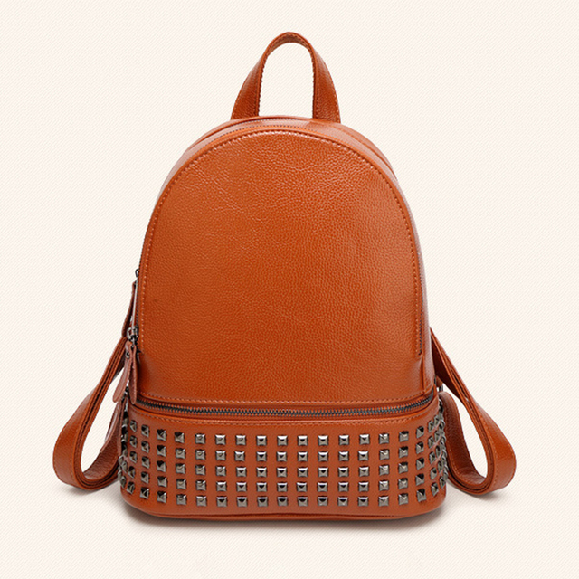 e08c62d2e6 2018 New Arrival Women Backpack Leather Top Quality Casual Backpack Small  Rivet Best Designer Oval Shaped Female Bags