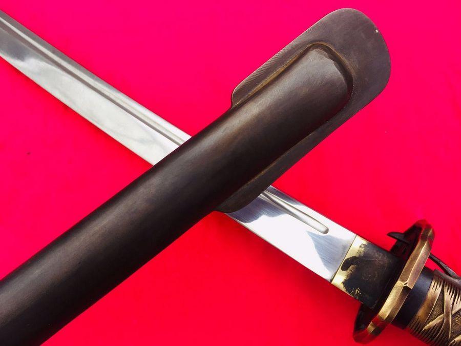 Винтажный военный японский самурайский меч Катана 95 Тип NCO меч медная ручка стальной нож с ножнами
