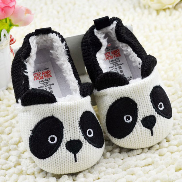 Newest Lovely Cartoon Panda Baby Girls Boy Infant Crochet Knitted Soft Crib Shoes Prewalking Shoes First Walkers