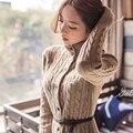 Mulheres Camisola Longa Cardigan Estilo Moda inverno Manga Longa De Malha Fina Cardigan espessamento feminino Blusas Frete Grátis