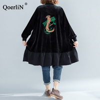 QoerliN Embroidery Harajuku Jacket Coat Velvet Women Long Sleeve Zipper Long Coat Female Pocket Street Wear Black Overcoat New