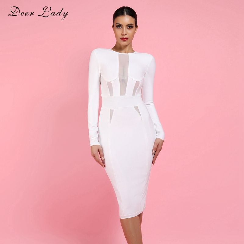 Deer Lady 2019 Woman Bandage Dress Summer Elegant White Bandage Bodycon Dress Long Sleeve Sexy Mesh
