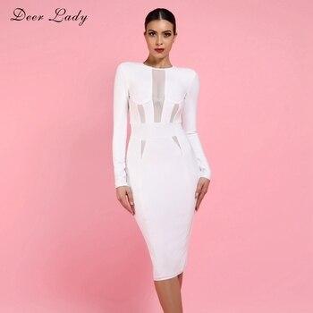 30ae711a01114 Geyik Bayan 2019 Kadın Bandaj Elbise Yaz Zarif Beyaz Bandaj Bodycon Elbise  Uzun Kollu Seksi Mesh Bandaj Elbise Parti Kulübü