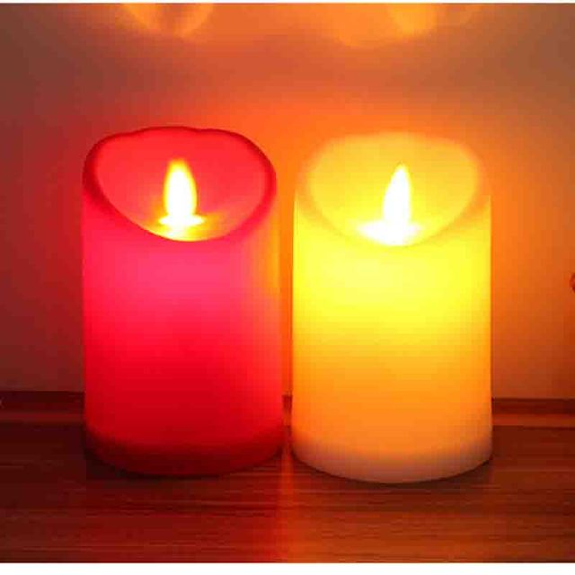 2pcs Simulation Swing Wick Romantic Bougie Pp Led Candle Lamp For
