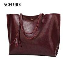 ACELURE зимняя женская сумка с кисточками роскошные сумки большой емкости Женские Shouilder сумка сумочка-клатч масло воск кожа женские сумки