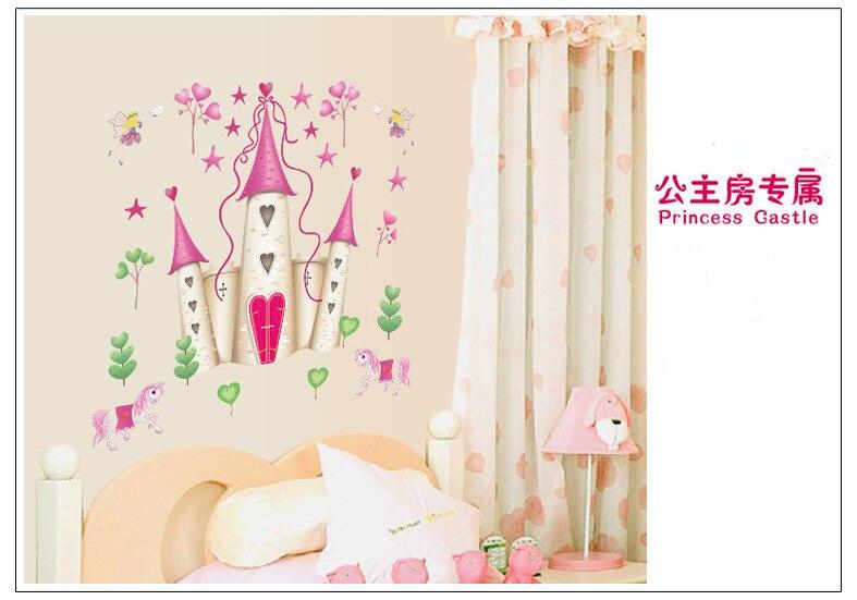 castillo de la princesa rosa estrellas de hadas pvc etiqueta de la pared para la habitacin