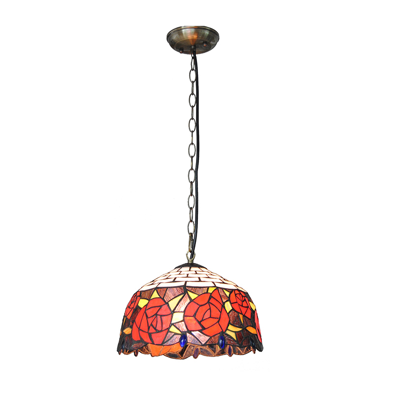 Red Rose Tiffany Pendant Lamp European Style Stained Glass Suspension Light Living Room Bedroom Lighting Home Decorative PL717 fumat stained glass pendant lamps european style glass lamp for living room dining room baroque glass art pendant lights led