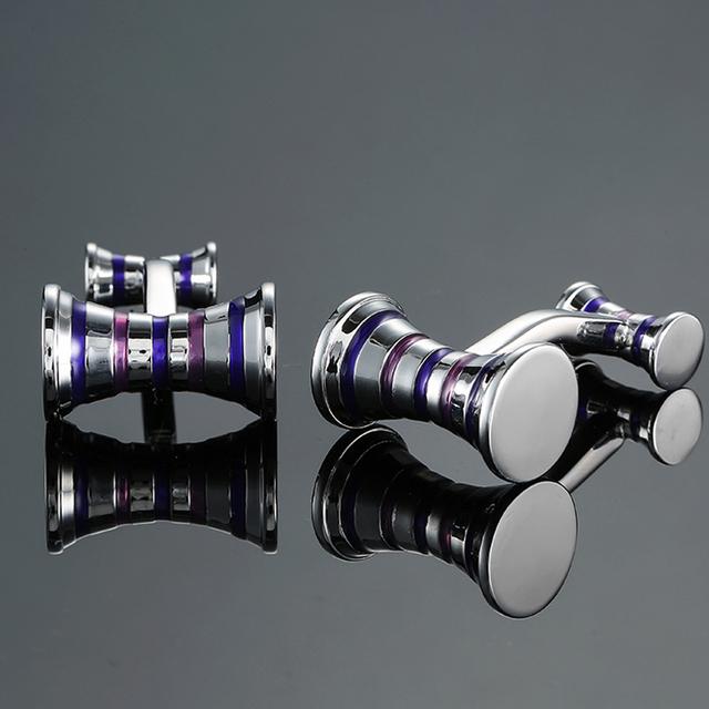 Dy High Brass Material Purple Blue Stripes Cufflinks Men's French Shirt Cufflink