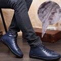 Más el Tamaño 46 47 48 49 hombres de Invierno de Alta Superior de Algodón Acolchado zapatos Con Felpa Moda Lace Up de Cuero Genuino Botas Cortas Masculinas