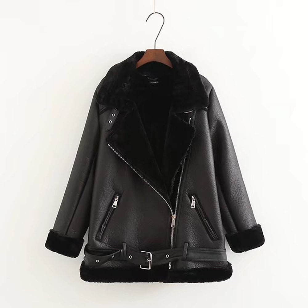 Apperloth 2018 Winter Women PU Leather Jacket Full Sleeve Zippers Turn-Down Faux Rabbit Hair Motorcycle Jacket With Sashes Black