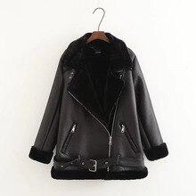 Apperloth 2018 зимняя женская куртка из искусственной кожи с длинным рукавом на молнии с отложным воротником из искусственного кроличьего меха мотоциклетная куртка с поясом черного цвета