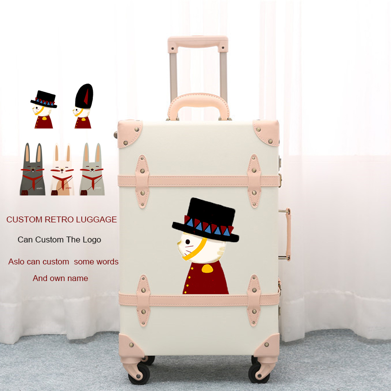 цена на 2018 Custom luggage retro custom suitcase geniune leather custom name high quality free shipping