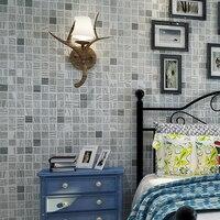 Beibehang papel de parede Hiện Đại nhỏ gọn mosaic đổ xô màu xanh Địa Trung Hải phòng khách theo phong cách nền phòng ngủ nền
