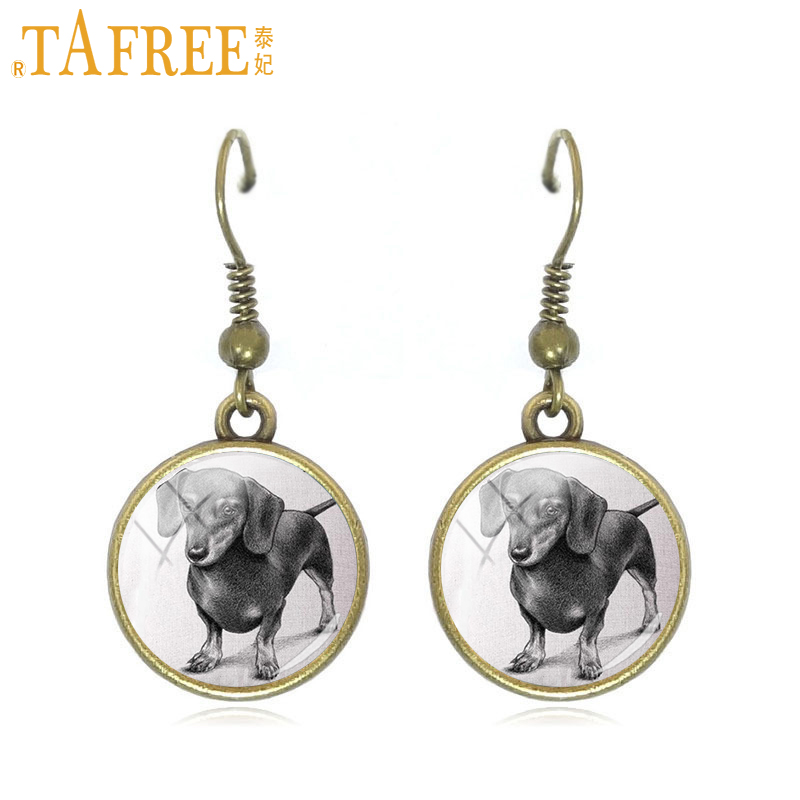 TAFREE Brand Vintage Dog Drop Earrings French Bulldog art round Glass for women men novelty trendy Christmas jewelry 2017 A172