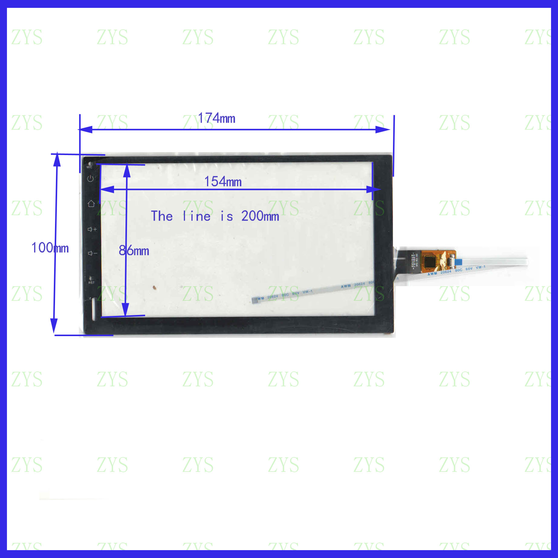 ZhiYuSun STC-911 NEW 7inch 174mm*100mm Touch Sensor  Panel 6 Use GPS DVD GT911 Overlay The Lines Is 200mm