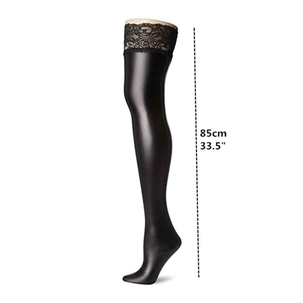 ผู้หญิงเซ็กซี่ชุดชั้นในต้นขาสูง Lycra Wet Look ถุงน่องสีดำ Faux หนัง Legging กับลูกไม้ Bas Sexy Erotique