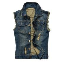 Fashion Mens Motorcycle Jean Vest Dark Blue Ripped Destroyed Washed Slim Fit Sleeveless Denim Jacket For Men Plus Size цена