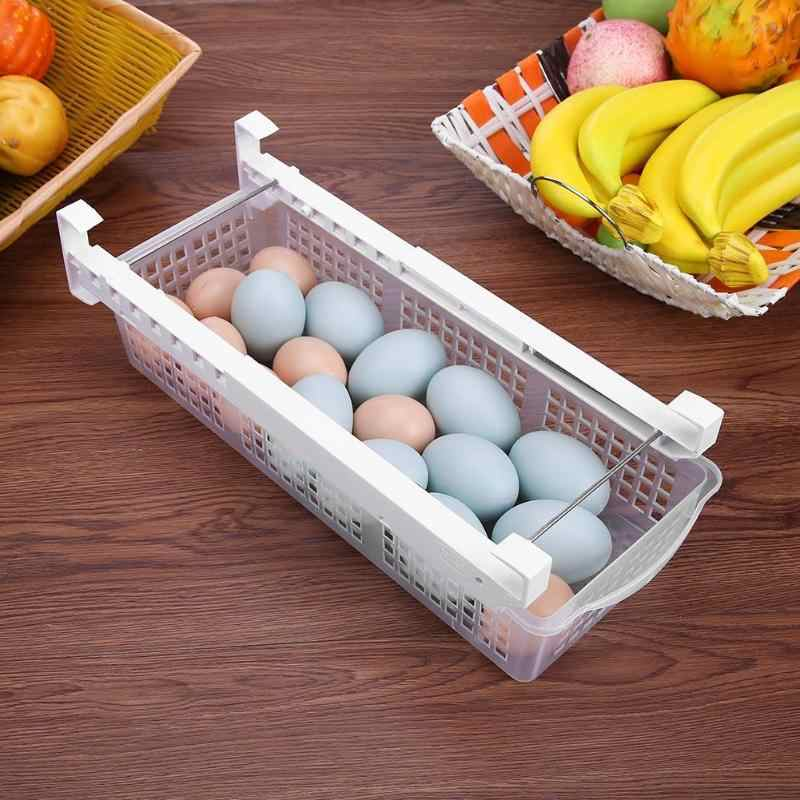 120L Space-saving Refrigerator Plastic Drawer Egg Storage Box Pull Out Bin Holder Food Fresh-keeping Container Kitchen Organizer
