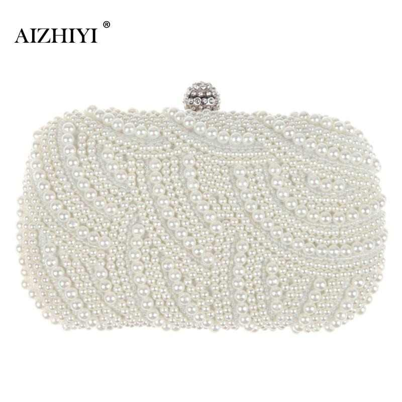Fashion Luxury Crystal Pearl White Evening Clutch Bag Women Elegant Rhinestones Handbag Wedding Party Lady Purse Bag Hot Selling