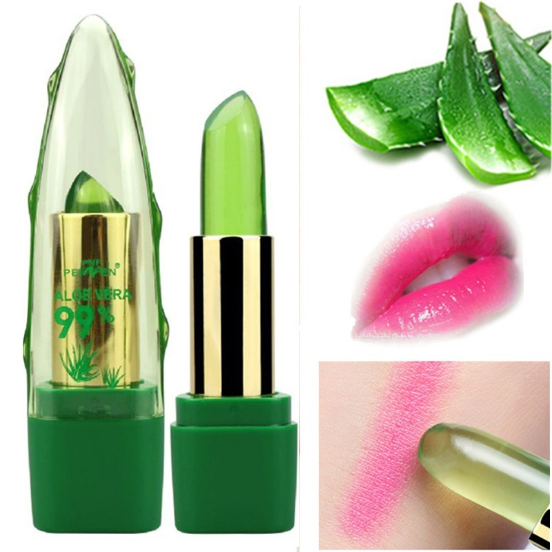 Pure Natural Aloe Vera Natural Moisturizer Lipstick Temperature Changed Color Lipbalm Magic Pink Protector Lips Cosmetics