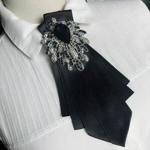 Camisa feminina britânica fita bolo gravata gravata borboleta cravat personalidade artesanal masculino casamento terno festa de cristal gravata strass bowtie