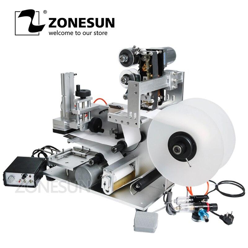 ZONESUN LT-60D Semi Automatic Labeling Machine Alcohol Disinfectant Drugs Bottle Medicine Bottle Labeling Machine Date Printer