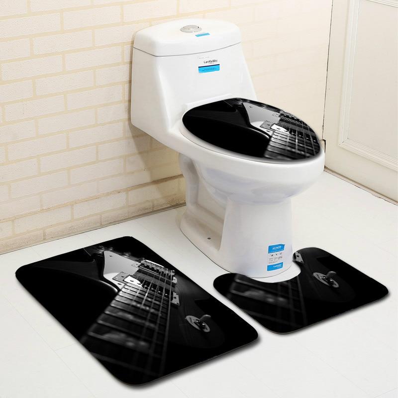 Remarkable Honlaker 3Pcs Guitar Pattern Bathroom Mat Set Toilet Cover And Foot Pad Non Slip Bath Rugs Mats Bathroom Accessories Machost Co Dining Chair Design Ideas Machostcouk