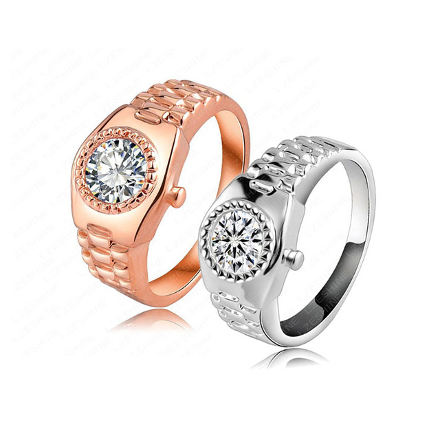 096cc3a8340 AENINE Classic Engagement Wedding Finger Ring Rose Gold Color CZ Cubic  Zirconia Stone Watch Ring Jewelry For Women RIC0018