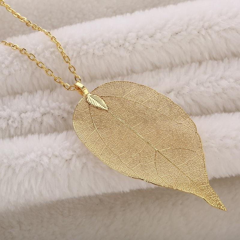 LOVBEAFAS-ketjun pitkät kaulakorut Naisten korut Suuret lausumat Vintage Kolye-kaulakorut Riipukset Luonnonmukaiset Leaf-kaulakorut Party Gift