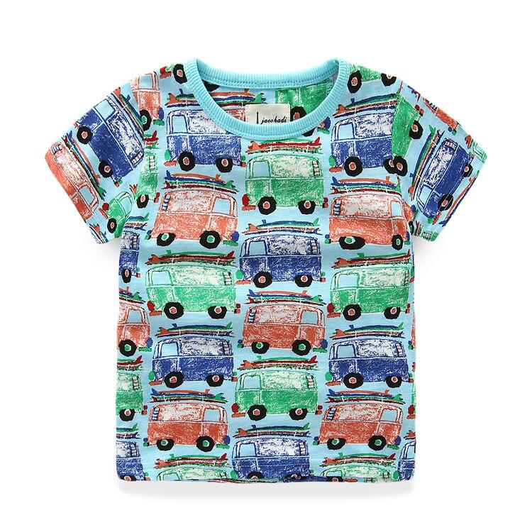 d6164f8cf الصيف الفتيان تي شيرت 100% القطن تي شيرت مطبوع للأولاد 2-8 سنوات الفتيان  قمصان قصيرة الأكمام الاطفال الملابس العلامة التجارية الأطفال قمم