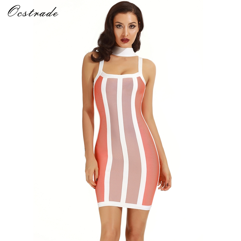 Ocstrade Bandage Dress Rayon 2017 Summer New Arrival Women Colorful Halter Bandage Dress Orange,Coffee&White