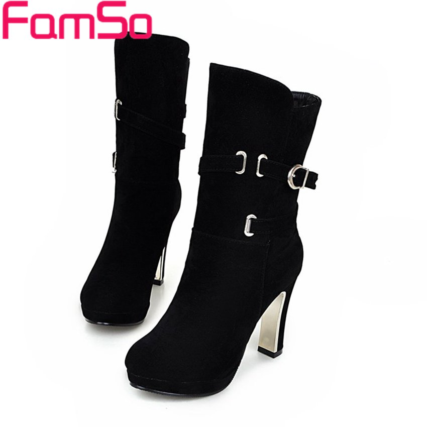 Free shipping 2016 new Sexy font b Women b font Boots Buckle Mid calf Half Motorcycle