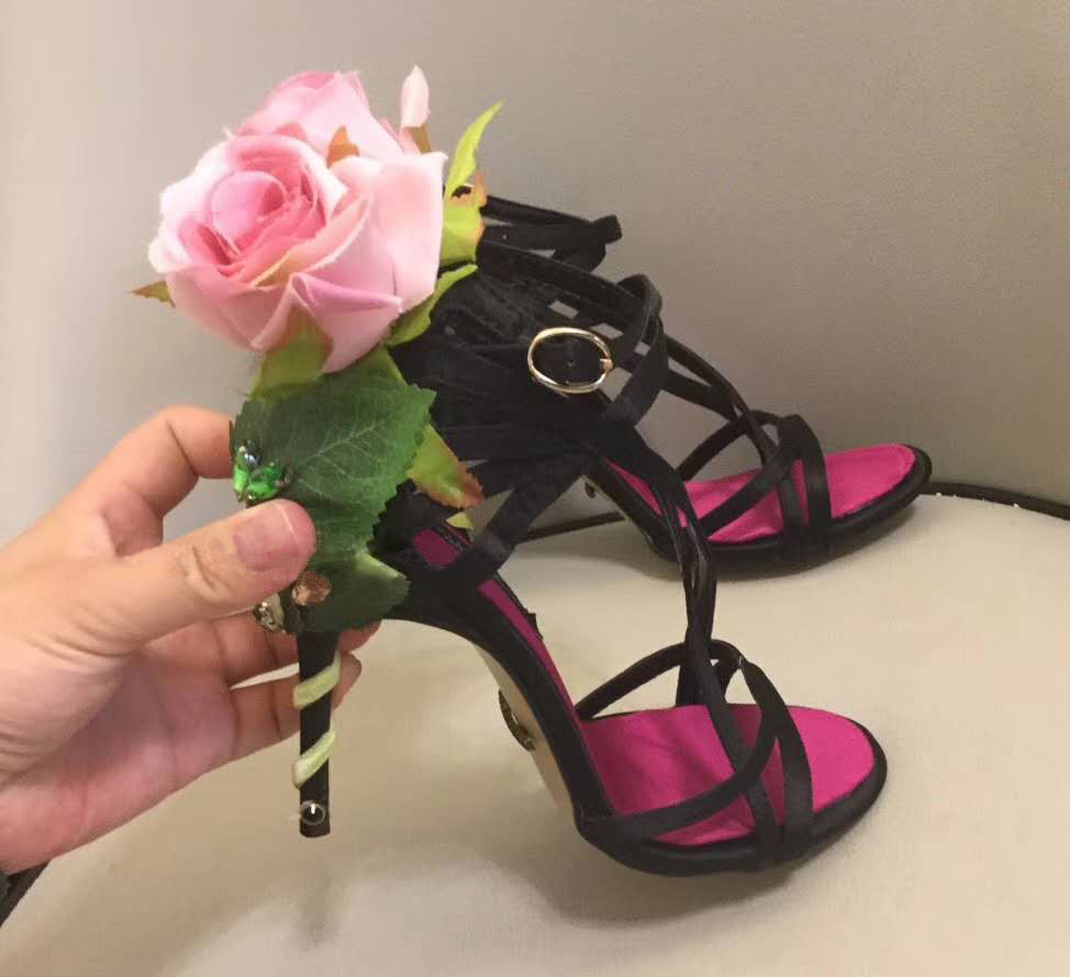 Womens Leather Bowknot Snake Decor Stiletto Strapy Printed Floral Shoes Sandals
