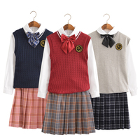 UPHYD School Uniform British Style Chorus Uniforms Performance School Girl Costumes Sailor Suits Shirt+Skirt+Vest+Tie