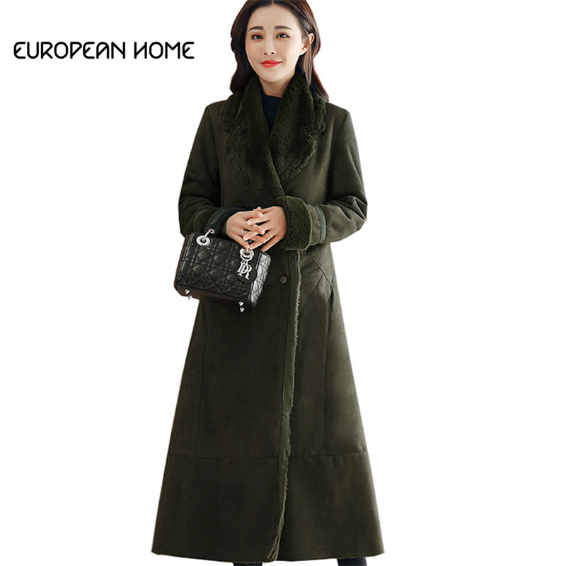 2019 Autumn Winter   Suede   Jacket Women Clothing Plus Size Korean Fashion Plus Velvet Thick Warm Long Faux   Leather   Coat Female