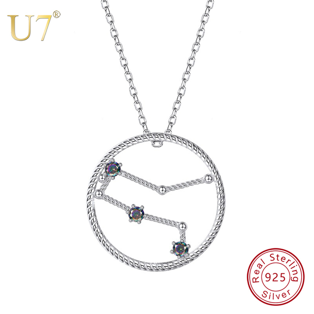 Low Price U7 925 Sterling Silver Gemini Zodiac Necklaces Pendants