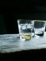 KINGLANG Glass Fruit Juice Glass Golden Slim Cup Water Cup Drinkware