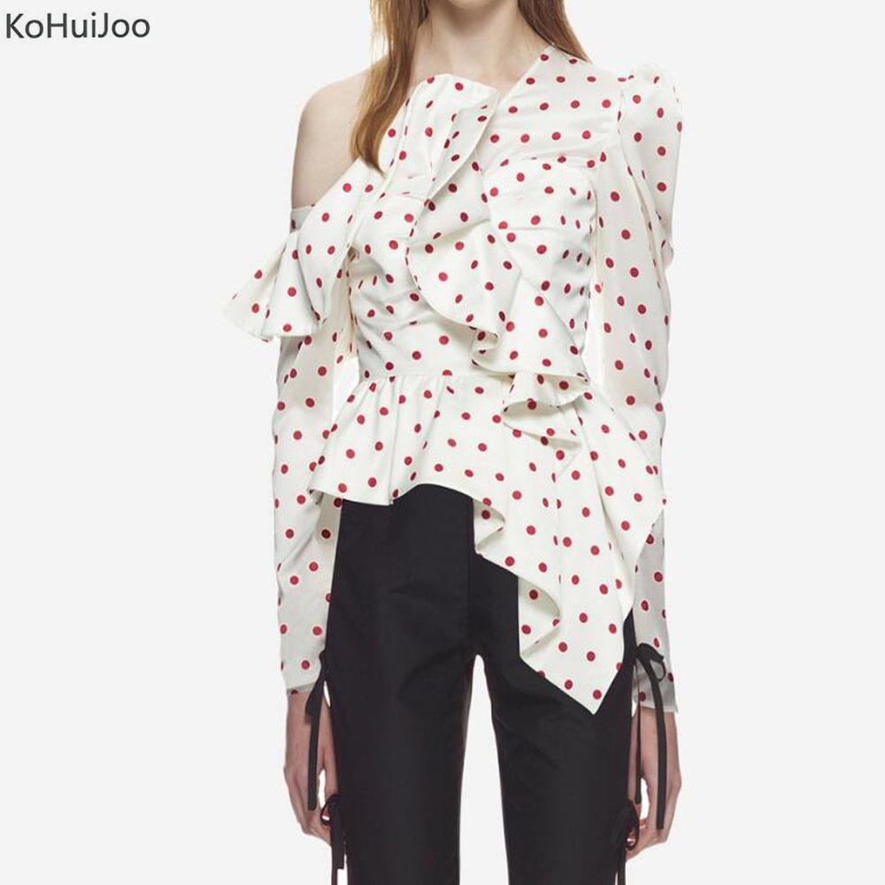 KoHuiJoo Frühling Langarm Poka Dot Shirts und Blusen Frauen Mode Rüschen Mode Bluse 2019 Hohe Qualität Tops Weibliche-in Blusen & Hemden aus Damenbekleidung bei  Gruppe 1