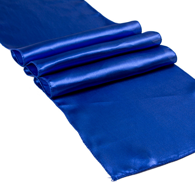 10PCS 30X275CM Modern Satin Table Runner For Wedding Party Hotel Decoration  Blue Purple Pink Table Runners