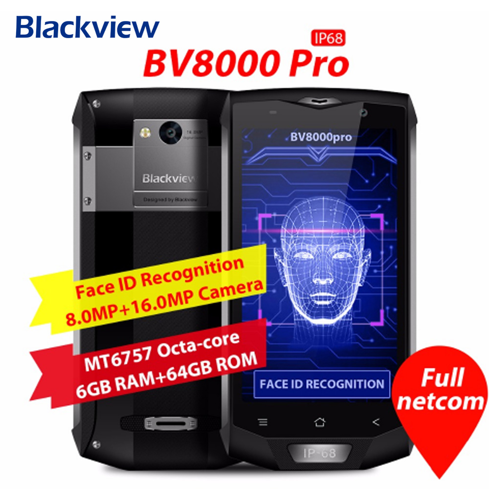 Original Blackview BV8000 Pro 4G Mobile Phone 5.0 Polegada Android 7.0 MTK6757 Octa Core 2.3 GHz 6 GB + 64 GB 16.0MP NFC OTG Smartphones
