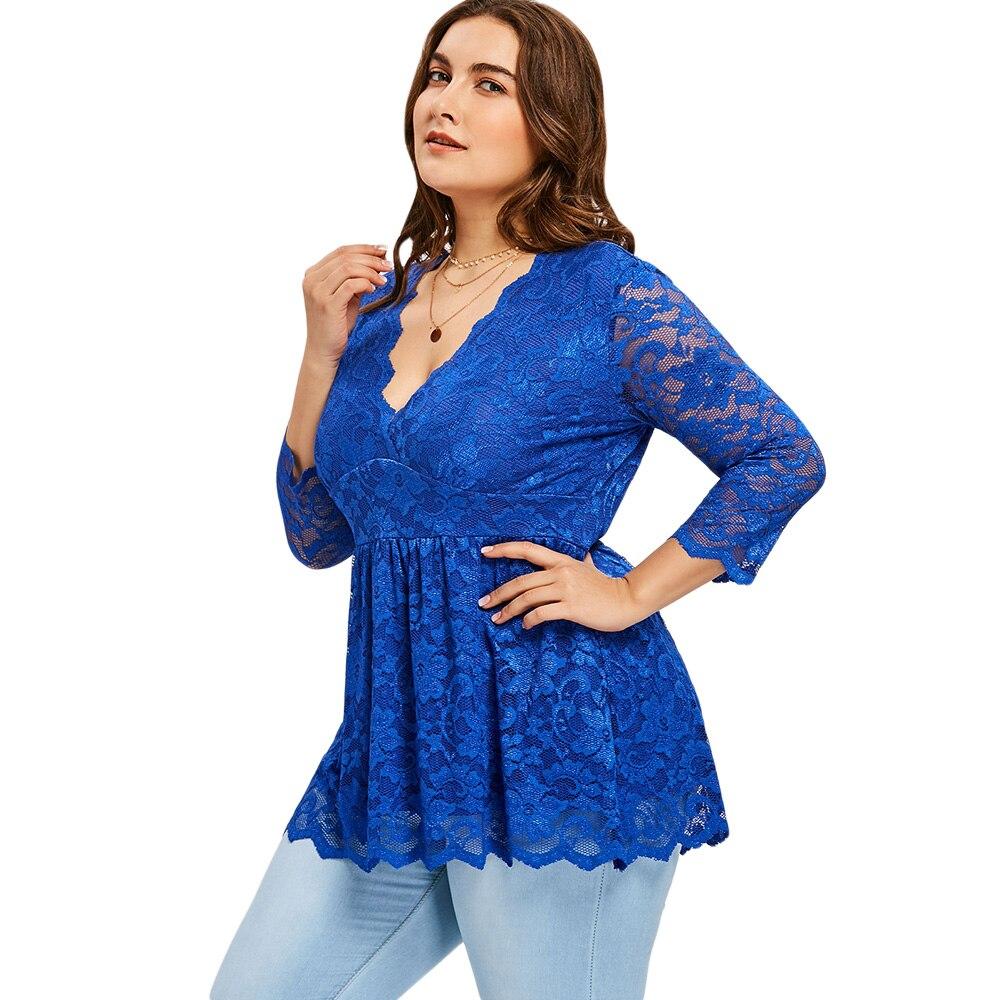 836b73b5e Blusas casuales de mujer Gamiss talla grande 5XL Floral de corte bajo de  encaje Peplum Top 2018 Sexy cuello en V largo blusa de tamaño grande de las  señoras ...