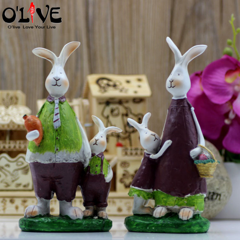 Resin Crafts Rabbit Family Vintage Home Decor Miniature Doll Figurines Cartoon Animals Decoration Micro Landscape Accessories