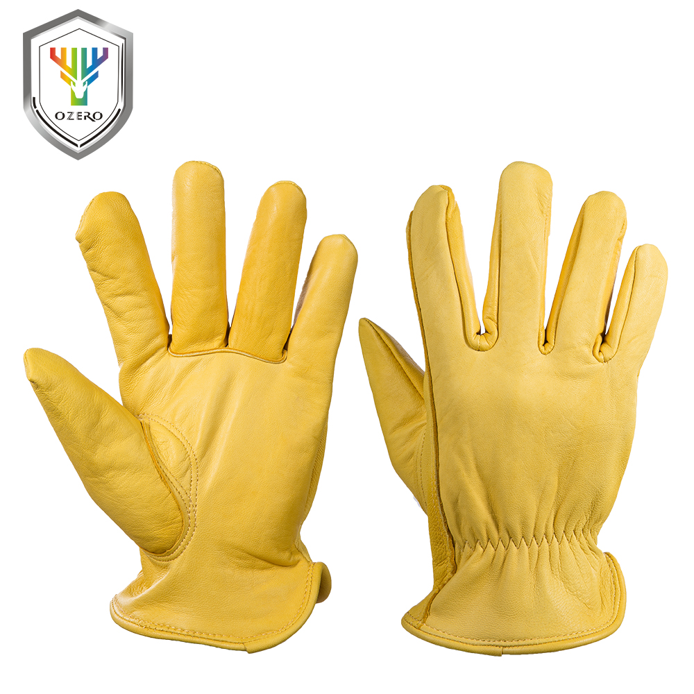 OZERO Men's Work Gloves Goat Leather Security Protection Safety Cutting Working Repairman Garage Racing Gloves For Men 0004