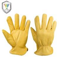 OZERO Männer der Arbeit Handschuhe Ziege Leder Sicherheit Schutz Sicherheit Schneiden Arbeits Werker Garage Racing Handschuhe Für Männer 0004